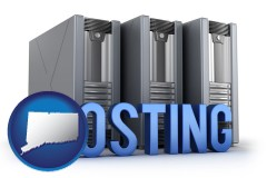 connecticut map icon and web site hosting servers and a caption