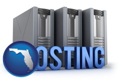 florida map icon and web site hosting servers and a caption