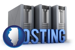illinois map icon and web site hosting servers and a caption