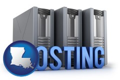 louisiana map icon and web site hosting servers and a caption