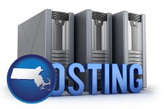 massachusetts map icon and web site hosting servers and a caption