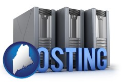 maine map icon and web site hosting servers and a caption