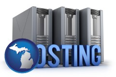 michigan web site hosting servers and a caption