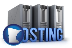minnesota map icon and web site hosting servers and a caption