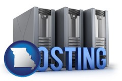 missouri map icon and web site hosting servers and a caption