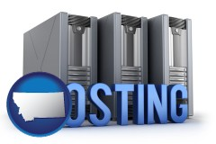 montana map icon and web site hosting servers and a caption