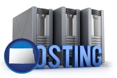 north-dakota map icon and web site hosting servers and a caption