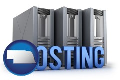 nebraska map icon and web site hosting servers and a caption