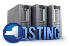 new-york web site hosting servers and a caption