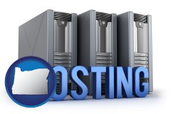 oregon web site hosting servers and a caption