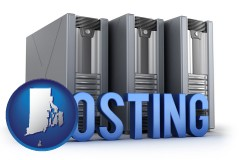 rhode-island map icon and web site hosting servers and a caption