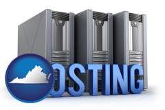 va map icon and web site hosting servers and a caption