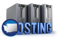washington web site hosting servers and a caption