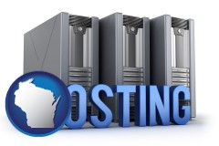 wisconsin web site hosting servers and a caption
