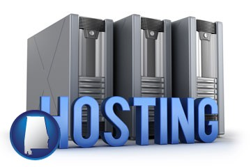 web site hosting servers and a caption - with Alabama icon