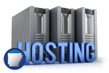 web site hosting servers and a caption - with Arkansas icon
