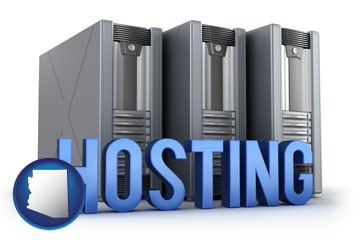 web site hosting servers and a caption - with Arizona icon
