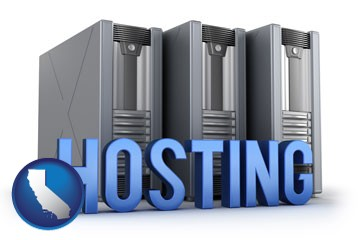 web site hosting servers and a caption - with California icon