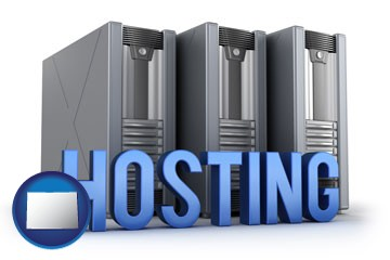 web site hosting servers and a caption - with Colorado icon