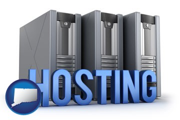 web site hosting servers and a caption - with Connecticut icon
