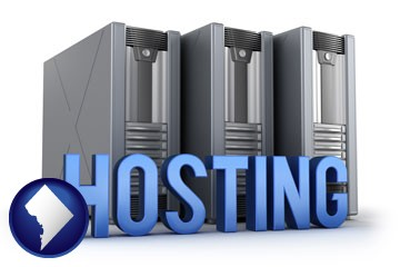 web site hosting servers and a caption - with Washington, DC icon