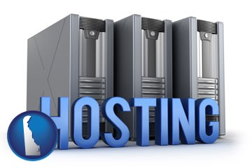 web site hosting servers and a caption - with Delaware icon