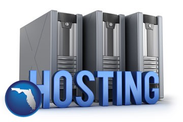 web site hosting servers and a caption - with Florida icon