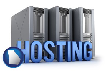web site hosting servers and a caption - with Georgia icon