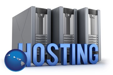 web site hosting servers and a caption - with Hawaii icon