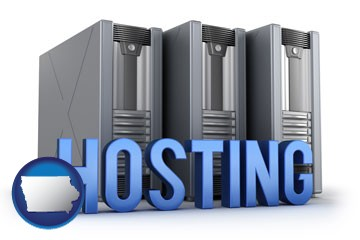 web site hosting servers and a caption - with Iowa icon