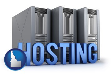 web site hosting servers and a caption - with Idaho icon