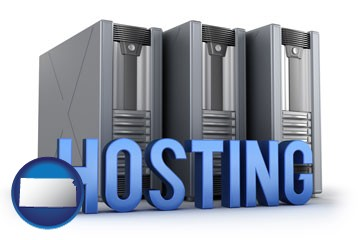 web site hosting servers and a caption - with Kansas icon