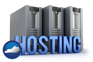 web site hosting servers and a caption - with Kentucky icon