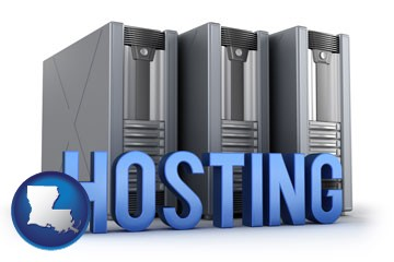 web site hosting servers and a caption - with Louisiana icon