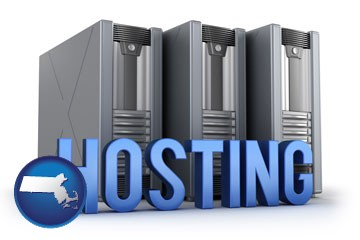 web site hosting servers and a caption - with Massachusetts icon