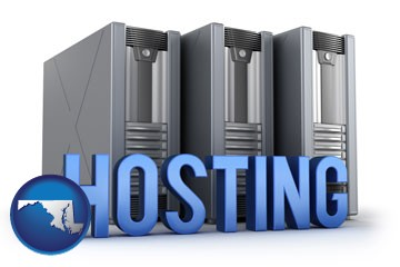 web site hosting servers and a caption - with Maryland icon