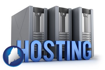 web site hosting servers and a caption - with Maine icon