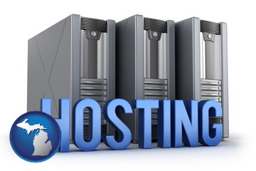 web site hosting servers and a caption - with Michigan icon