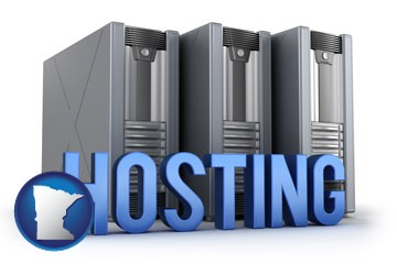 web site hosting servers and a caption - with Minnesota icon