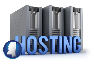 web site hosting servers and a caption - with Mississippi icon