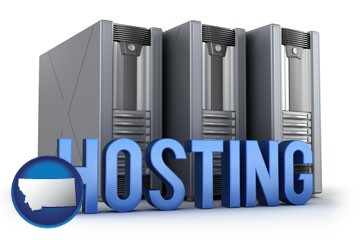 web site hosting servers and a caption - with Montana icon