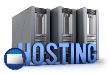 web site hosting servers and a caption - with North Dakota icon