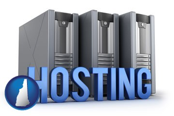 web site hosting servers and a caption - with New Hampshire icon