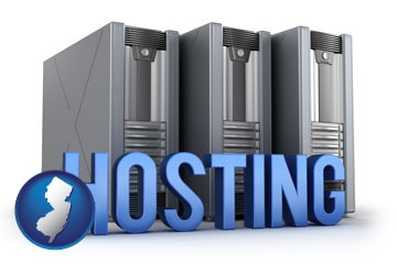 web site hosting servers and a caption - with New Jersey icon