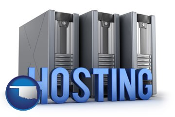 web site hosting servers and a caption - with Oklahoma icon