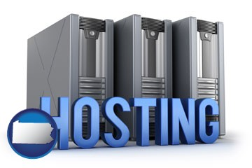 web site hosting servers and a caption - with Pennsylvania icon