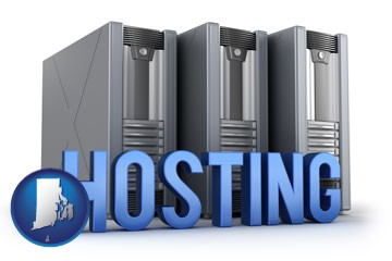 web site hosting servers and a caption - with Rhode Island icon