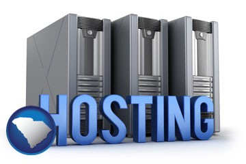 web site hosting servers and a caption - with South Carolina icon