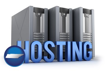 web site hosting servers and a caption - with Tennessee icon