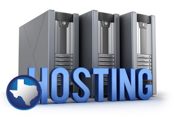 web site hosting servers and a caption - with Texas icon
